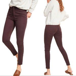 Mid Rise Skinny Maroon Jeans